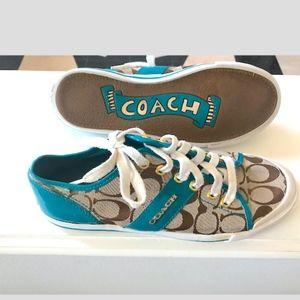 Coach Fillmore sneakers c-logo tan & teal Sz 8B